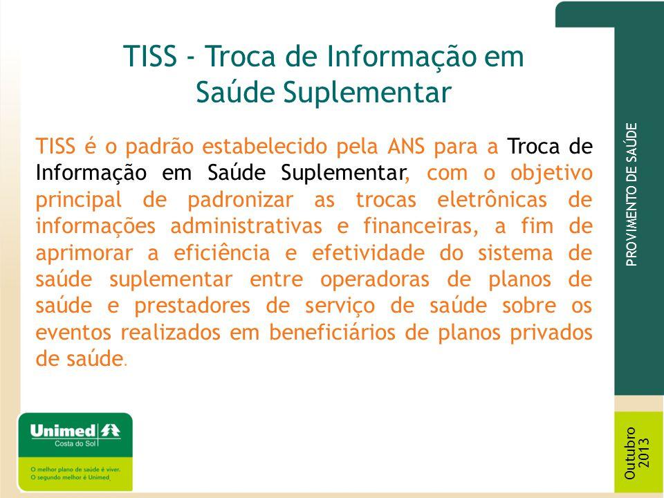 TISS é o padrão estabelecido pela ANS para a Troca de Informação em Saúde Suplementar, com o objetivo principal de padronizar as trocas eletrônicas de