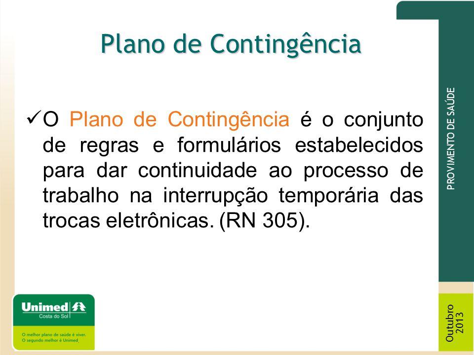 O Plano de Contingência é o conjunto de regras e formulários estabelecidos para dar continuidade ao processo de trabalho na interrupção temporária das