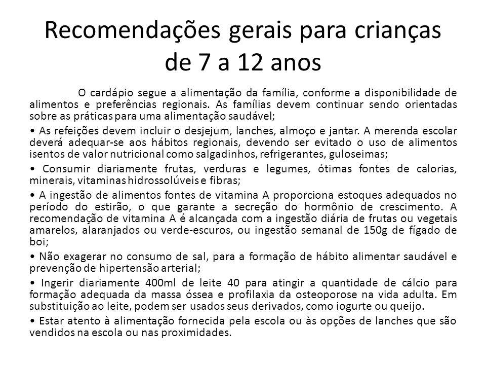 Recomendações gerais para crianças de 7 a 12 anos O cardápio segue a alimentação da família, conforme a disponibilidade de alimentos e preferências re