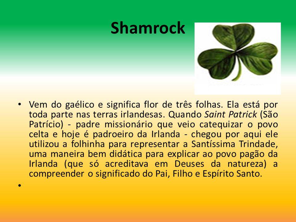 Shamrock Vem do gaélico e significa flor de três folhas. Ela está por toda parte nas terras irlandesas. Quando Saint Patrick (São Patrício) - padre mi