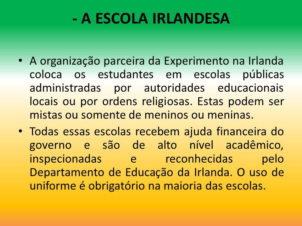 - A ESCOLA IRLANDESA A organização parceira da Experimento na Irlanda coloca os estudantes em escolas públicas administradas por autoridades educacion