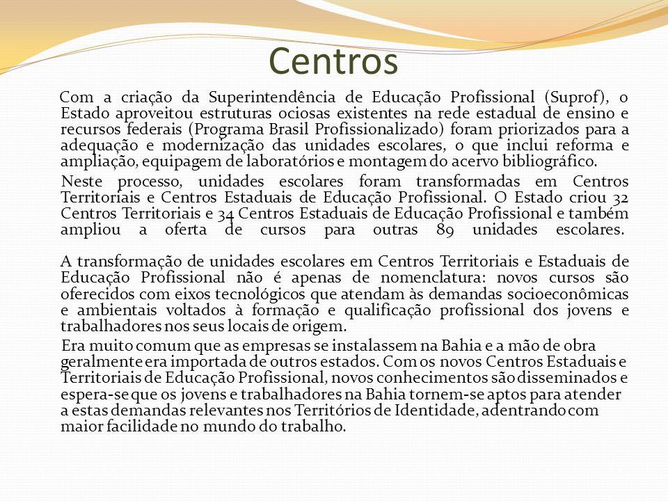 Centros Com a criação da Superintendência de Educação Profissional (Suprof), o Estado aproveitou estruturas ociosas existentes na rede estadual de ens