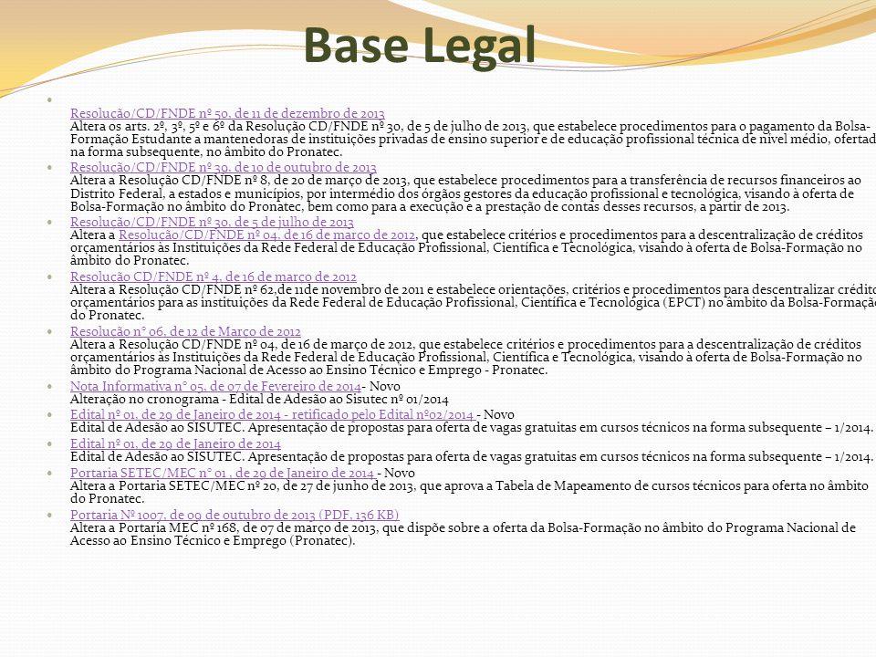 Base Legal Resolução/CD/FNDE nº 50, de 11 de dezembro de 2013 Altera os arts. 2º, 3º, 5º e 6º da Resolução CD/FNDE nº 30, de 5 de julho de 2013, que e