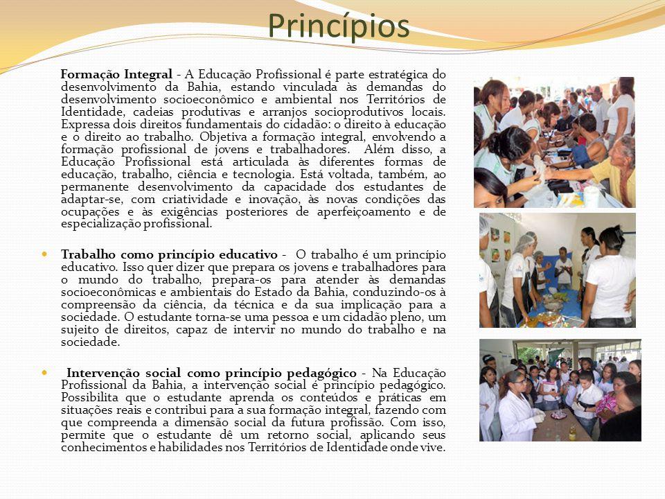 Princípios Formação Integral - A Educação Profissional é parte estratégica do desenvolvimento da Bahia, estando vinculada às demandas do desenvolvimen