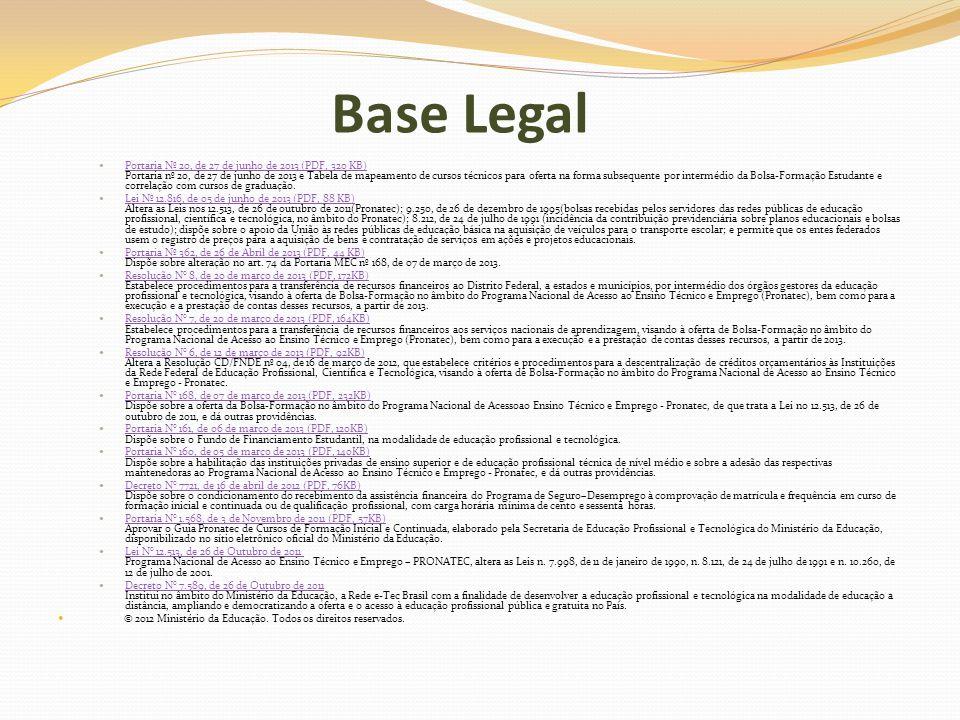 Base Legal Portaria Nº 20, de 27 de junho de 2013 (PDF, 320 KB) Portaria nº 20, de 27 de junho de 2013 e Tabela de mapeamento de cursos técnicos para