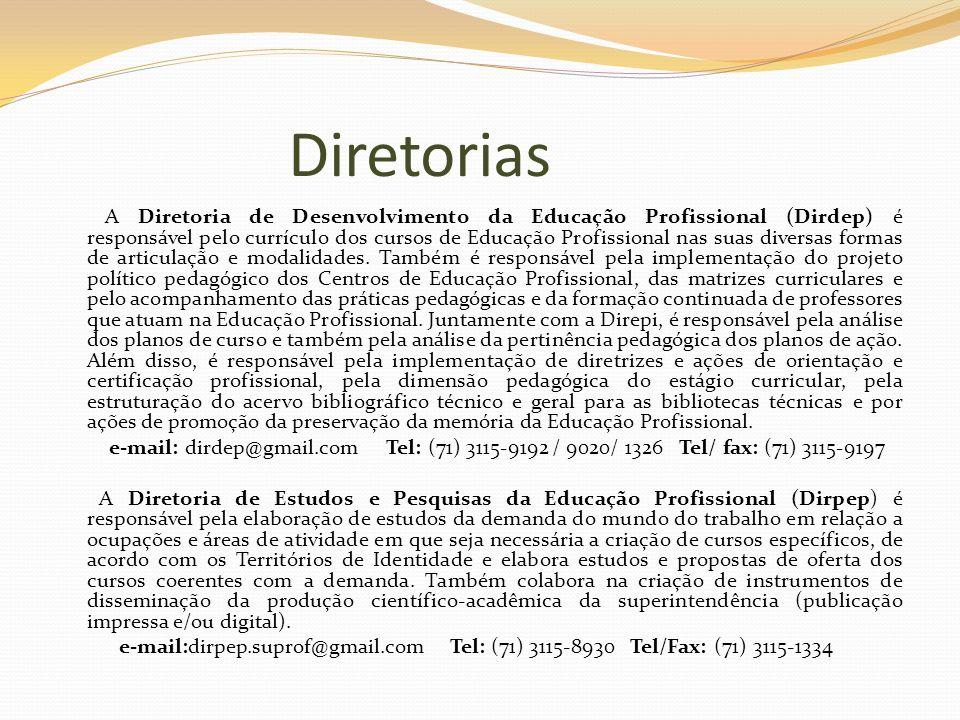 Diretorias A Diretoria de Desenvolvimento da Educação Profissional (Dirdep) é responsável pelo currículo dos cursos de Educação Profissional nas suas