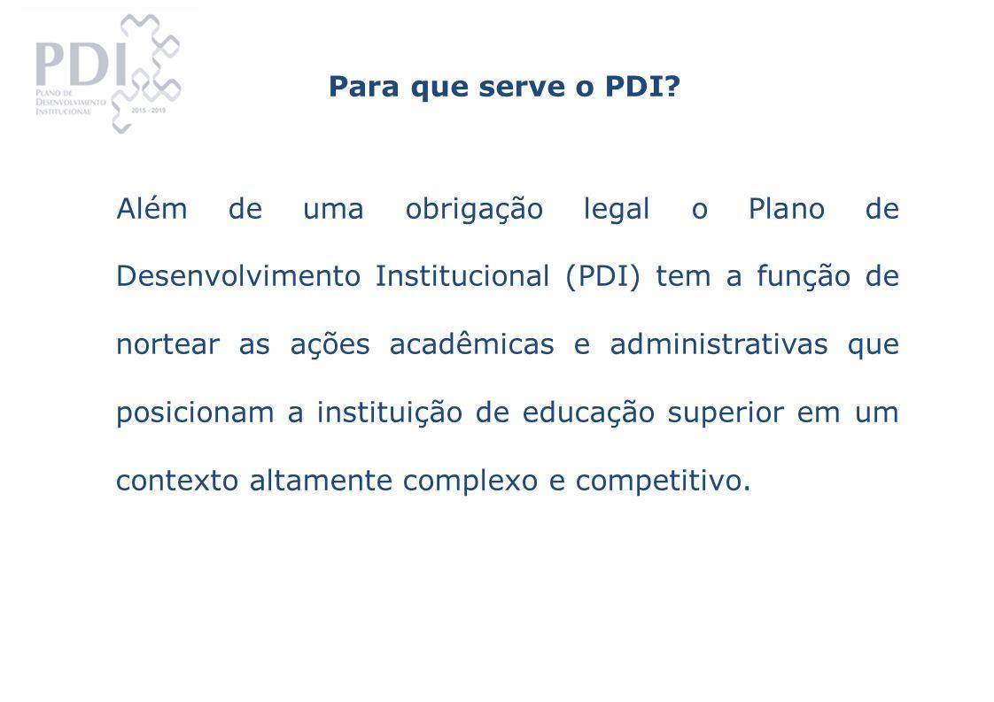 O PDI, na estrutura apresentada pelo Decreto 5773/06, está consubstanciado em eixos, alinhando ações aderentes ao processo de avaliação institucional e direcionando à compreensão do escopo da educação superior.