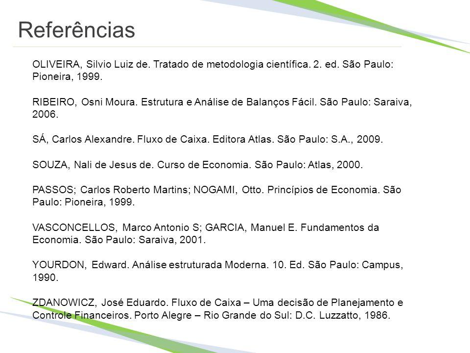 Referências OLIVEIRA, Silvio Luiz de. Tratado de metodologia científica. 2. ed. São Paulo: Pioneira, 1999. RIBEIRO, Osni Moura. Estrutura e Análise de