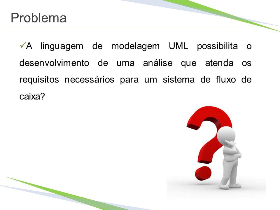 Problema A linguagem de modelagem UML possibilita o desenvolvimento de uma análise que atenda os requisitos necessários para um sistema de fluxo de ca