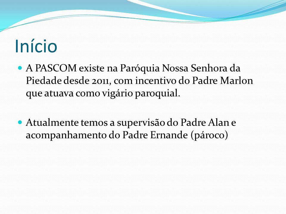 Início A PASCOM existe na Paróquia Nossa Senhora da Piedade desde 2011, com incentivo do Padre Marlon que atuava como vigário paroquial.