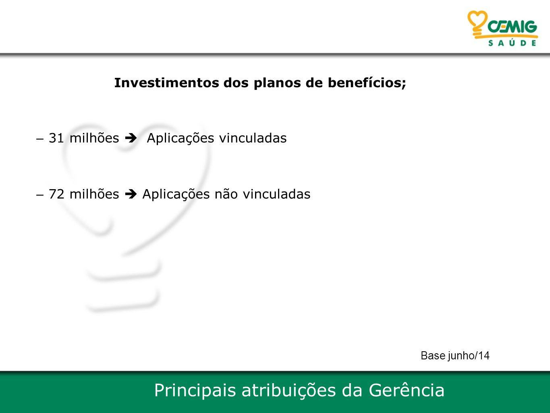 Investimentos dos planos de benefícios; – 31 milhões  Aplicações vinculadas – 72 milhões  Aplicações não vinculadas Principais atribuições da Gerênc