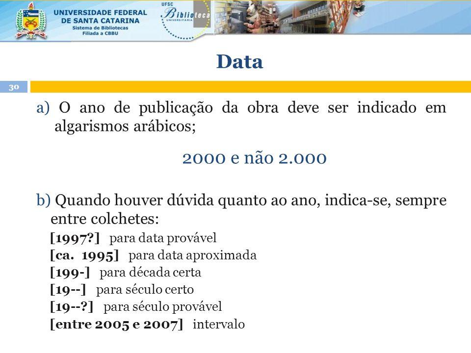 a) O ano de publicação da obra deve ser indicado em algarismos arábicos; 2000 e não 2.000 b) Quando houver dúvida quanto ao ano, indica-se, sempre ent