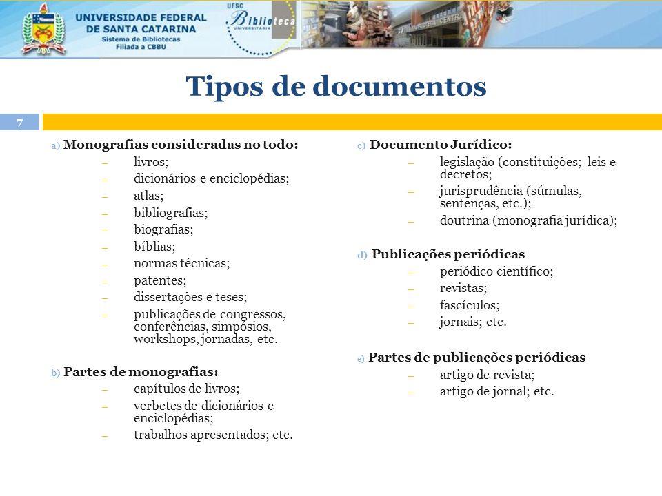 Tipos de documentos a) Monografias consideradas no todo: ― livros; ― dicionários e enciclopédias; ― atlas; ― bibliografias; ― biografias; ― bíblias; ―