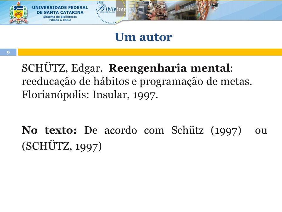 Um autor SCHÜTZ, Edgar. Reengenharia mental: reeducação de hábitos e programação de metas. Florianópolis: Insular, 1997. No texto: De acordo com Schüt