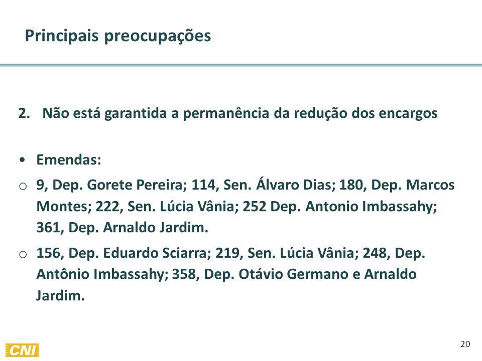 20 Principais preocupações 2.Não está garantida a permanência da redução dos encargos Emendas: o 9, Dep.