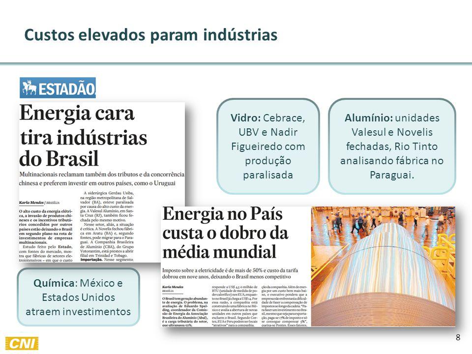 8 Custos elevados param indústrias Vidro: Cebrace, UBV e Nadir Figueiredo com produção paralisada Alumínio: unidades Valesul e Novelis fechadas, Rio Tinto analisando fábrica no Paraguai.