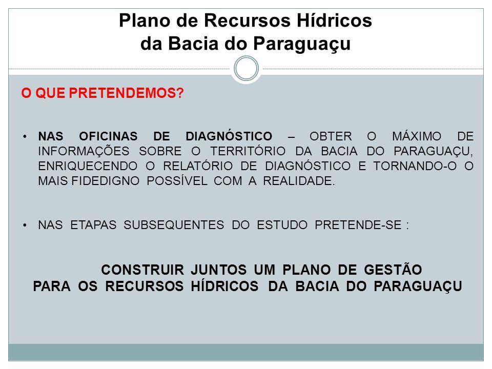 Plano de Recursos Hídricos da Bacia do Paraguaçu O QUE PRETENDEMOS? NAS OFICINAS DE DIAGNÓSTICO – OBTER O MÁXIMO DE INFORMAÇÕES SOBRE O TERRITÓRIO DA