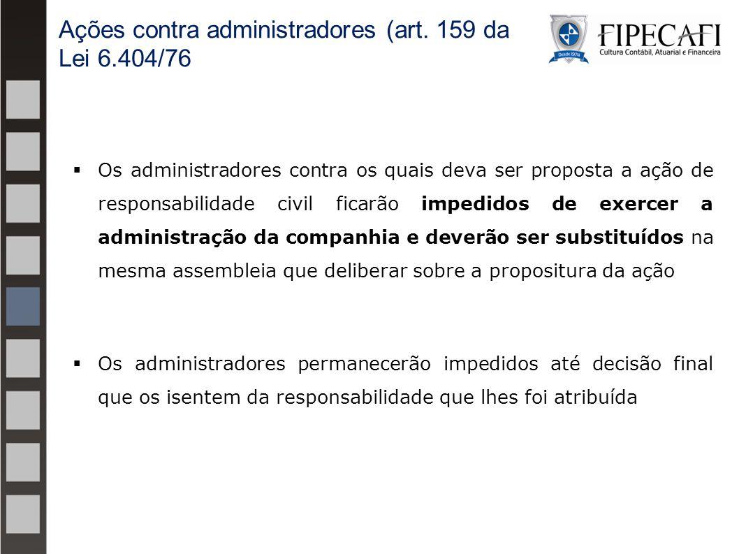  Os administradores contra os quais deva ser proposta a ação de responsabilidade civil ficarão impedidos de exercer a administração da companhia e de