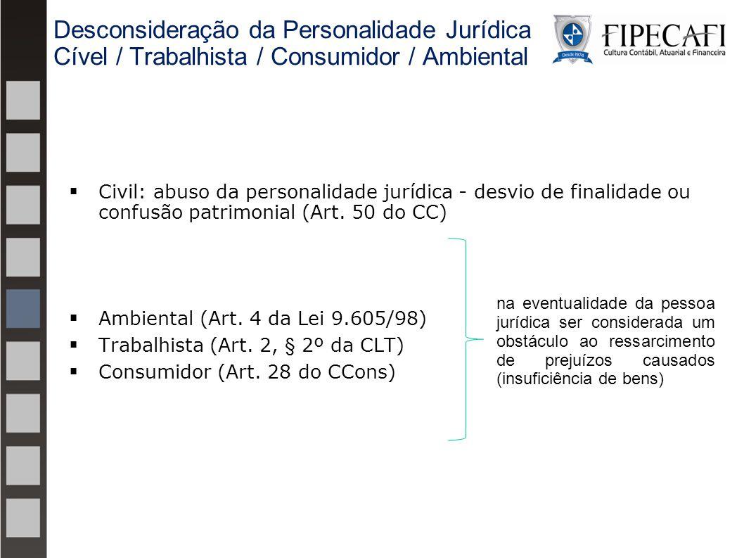  Civil: abuso da personalidade jurídica - desvio de finalidade ou confusão patrimonial (Art. 50 do CC)  Ambiental (Art. 4 da Lei 9.605/98)  Trabalh