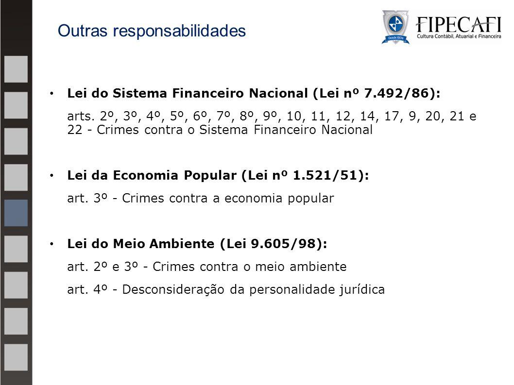 Lei do Sistema Financeiro Nacional (Lei nº 7.492/86): arts. 2º, 3º, 4º, 5º, 6º, 7º, 8º, 9º, 10, 11, 12, 14, 17, 9, 20, 21 e 22 - Crimes contra o Siste