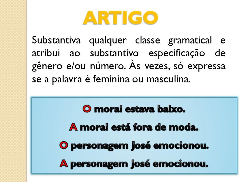 Substantiva qualquer classe gramatical e atribui ao substantivo especificação de gênero e/ou número. Às vezes, só expressa se a palavra é feminina ou