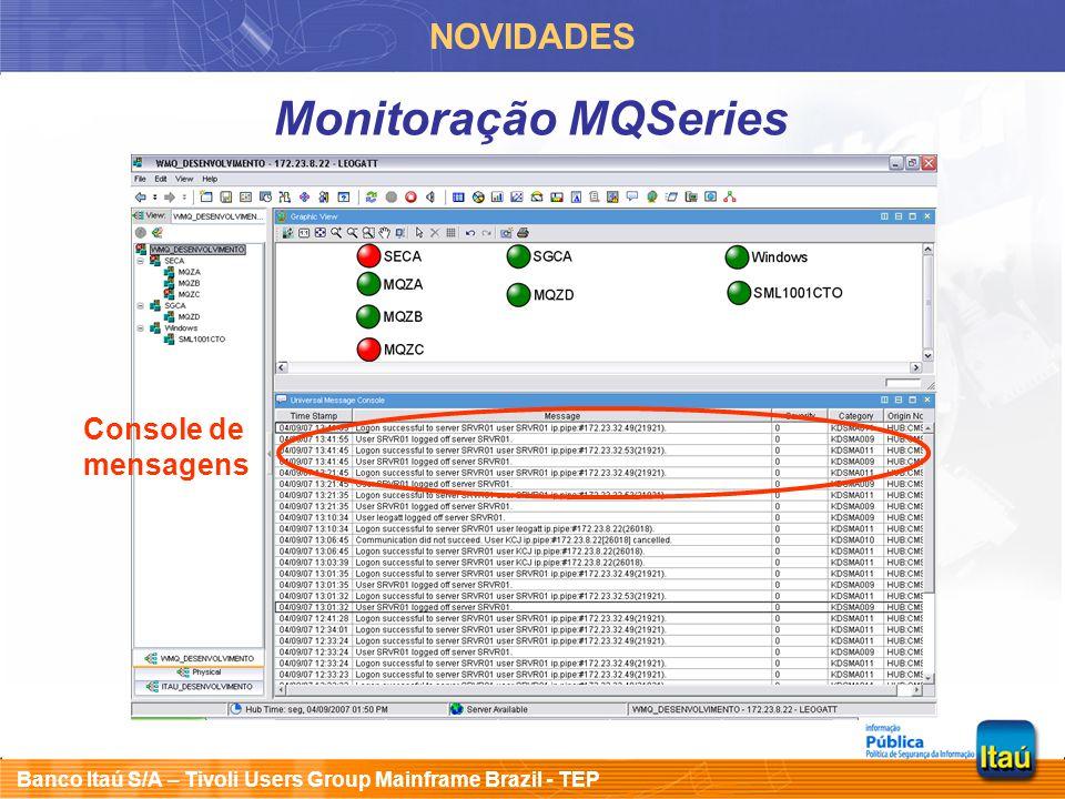 Banco Itaú S/A – Tivoli Users Group Mainframe Brazil - TEP NOVIDADES Monitoração MQSeries Console de mensagens