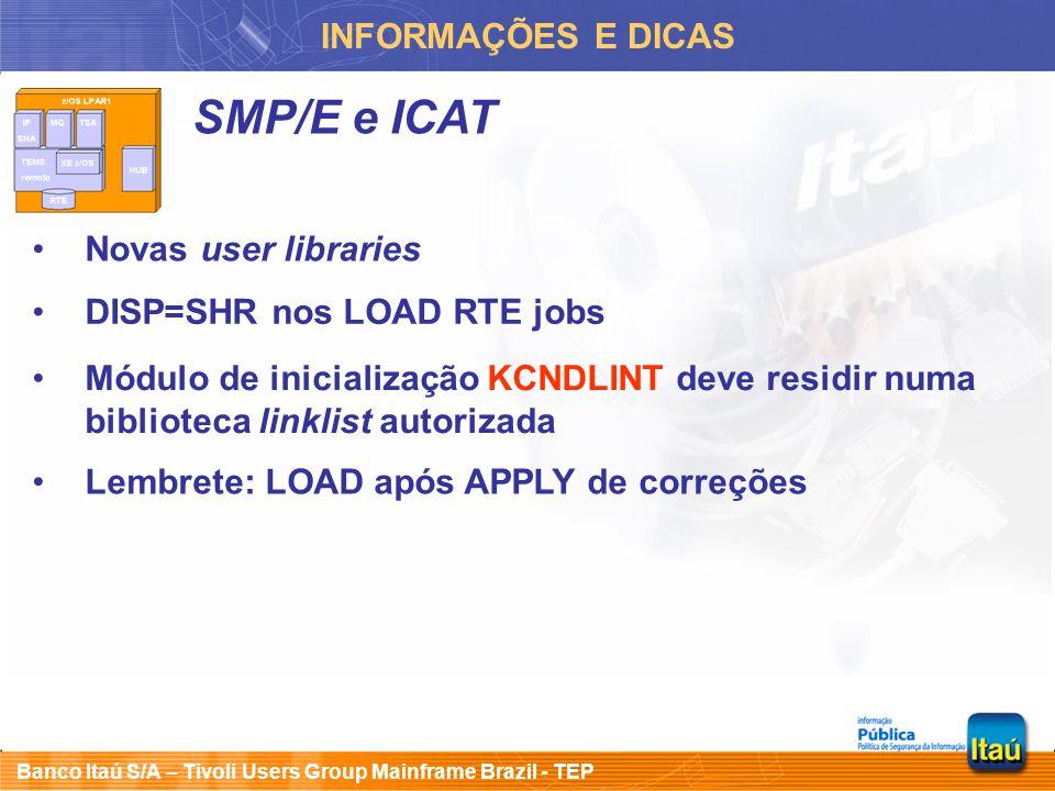 Banco Itaú S/A – Tivoli Users Group Mainframe Brazil - TEP INFORMAÇÕES E DICAS SMP/E e ICAT Novas user libraries DISP=SHR nos LOAD RTE jobs Módulo de