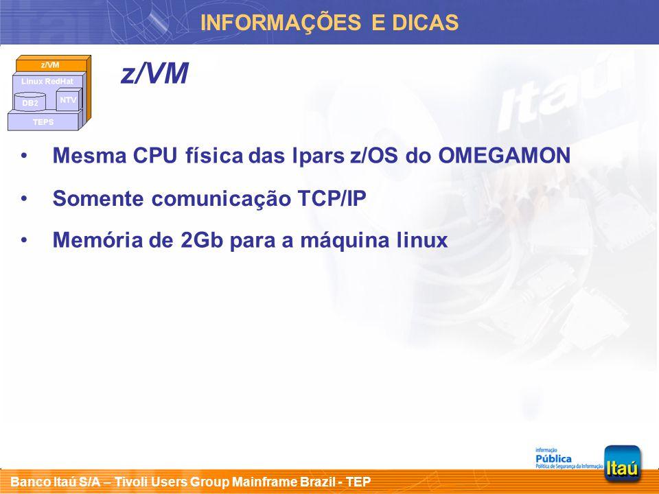 Banco Itaú S/A – Tivoli Users Group Mainframe Brazil - TEP INFORMAÇÕES E DICAS z/VM Mesma CPU física das lpars z/OS do OMEGAMON Somente comunicação TC