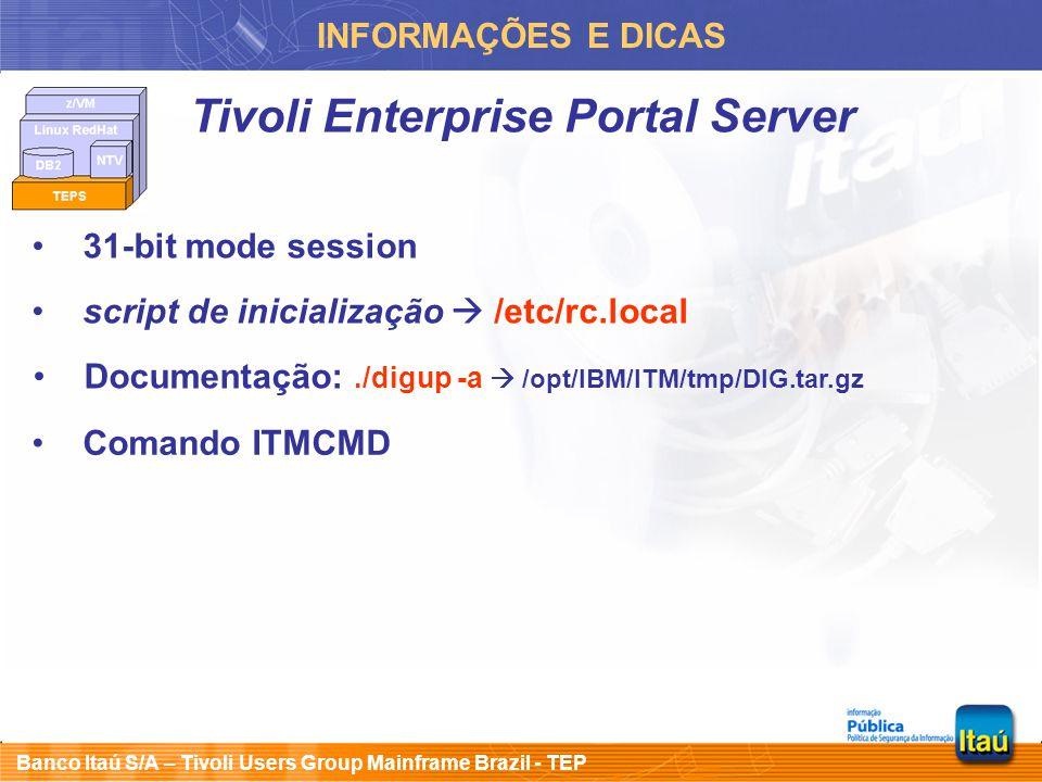 Banco Itaú S/A – Tivoli Users Group Mainframe Brazil - TEP INFORMAÇÕES E DICAS Tivoli Enterprise Portal Server 31-bit mode session Documentação:./digu