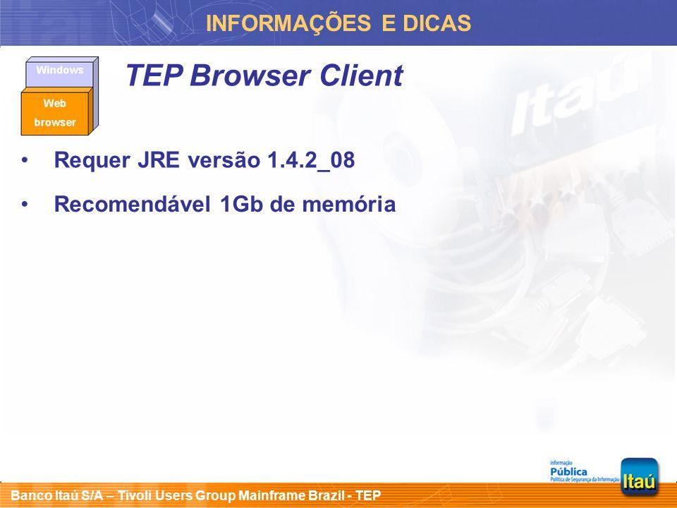 Banco Itaú S/A – Tivoli Users Group Mainframe Brazil - TEP INFORMAÇÕES E DICAS TEP Browser Client Requer JRE versão 1.4.2_08 Recomendável 1Gb de memór