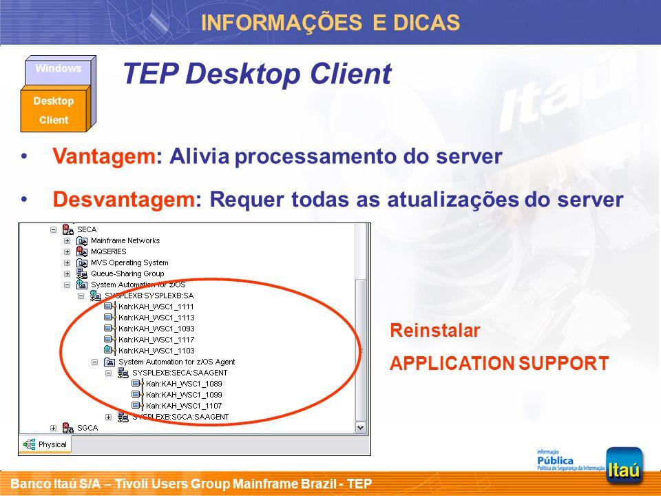 Banco Itaú S/A – Tivoli Users Group Mainframe Brazil - TEP INFORMAÇÕES E DICAS TEP Desktop Client Vantagem: Alivia processamento do server Desvantagem