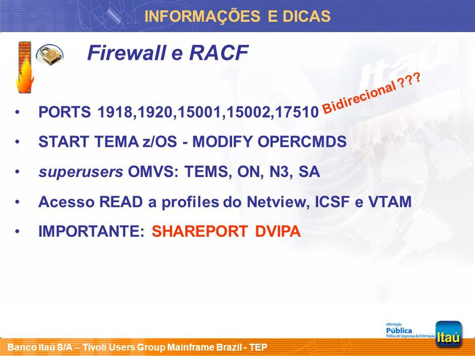 Banco Itaú S/A – Tivoli Users Group Mainframe Brazil - TEP INFORMAÇÕES E DICAS Firewall e RACF PORTS 1918,1920,15001,15002,17510 START TEMA z/OS - MOD