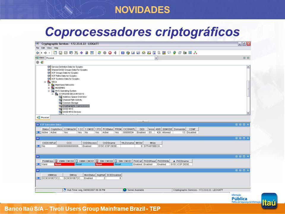 Banco Itaú S/A – Tivoli Users Group Mainframe Brazil - TEP INFORMAÇÕES E DICAS OMEGAMON XE on z/OS Módulo ICSF KM5EXIT3 pode residir numa biblioteca linklist autorizada Statement EXIT(CSFEXIT3,KM5EXIT3,FAIL(EXIT)) no membro de inicialização do ICSF Segurança externa: editar KOMSUPDI na RKANPARU e rodar job KOMSUPD da RKANSAMU Resource class name OMCANDLE  $$OMCAN KOMRACFX da RKANSAMU e rodar job KOMRACFA Executa no address space do TEMS remoto