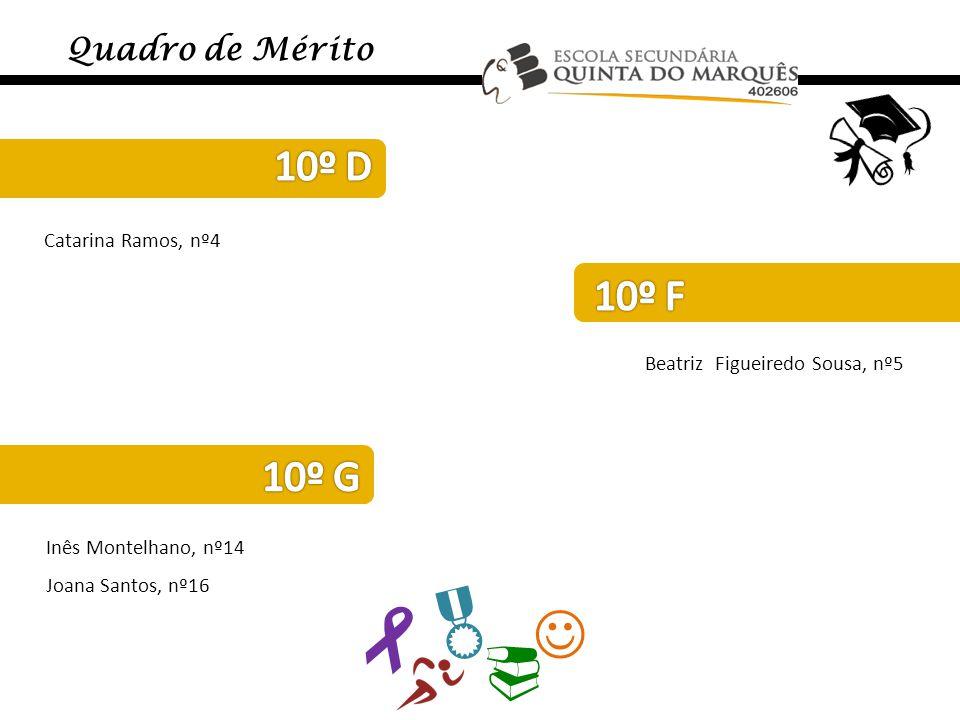    Quadro de Mérito Catarina Ramos, nº4 Beatriz Figueiredo Sousa, nº5 Inês Montelhano, nº14 Joana Santos, nº16