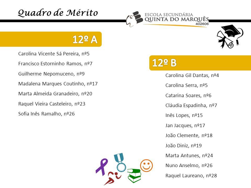    Quadro de Mérito Carolina Vicente Sá Pereira, nº5 Francisco Estorninho Ramos, nº7 Guilherme Nepomuceno, nº9 Madalena Marques Coutinho, nº17 Mart