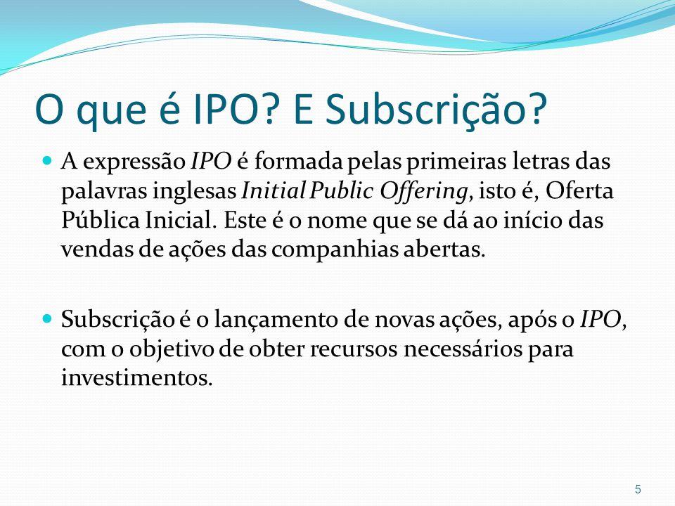 O que é IPO? E Subscrição? A expressão IPO é formada pelas primeiras letras das palavras inglesas Initial Public Offering, isto é, Oferta Pública Inic