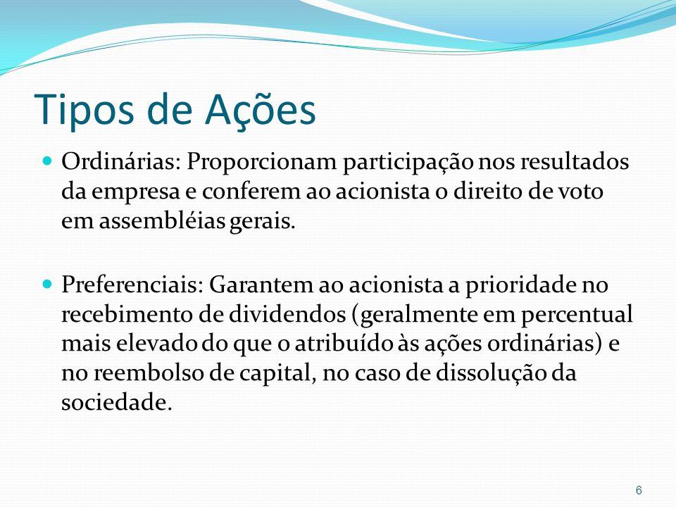 Tipos de Ações Ordinárias: Proporcionam participação nos resultados da empresa e conferem ao acionista o direito de voto em assembléias gerais. Prefer