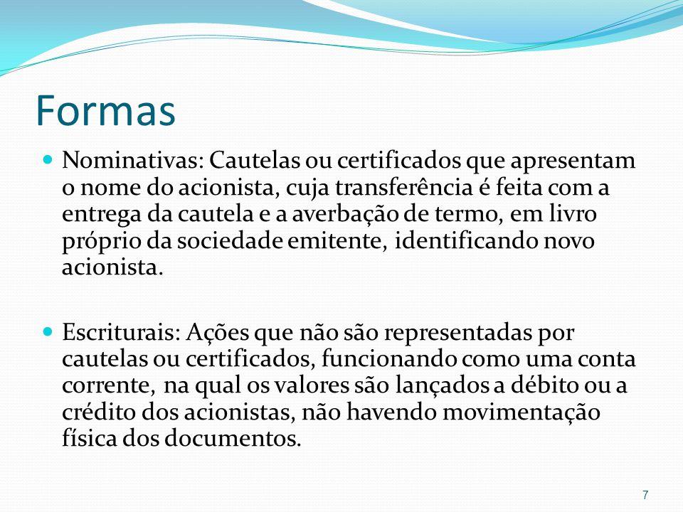 Formas Nominativas: Cautelas ou certificados que apresentam o nome do acionista, cuja transferência é feita com a entrega da cautela e a averbação de