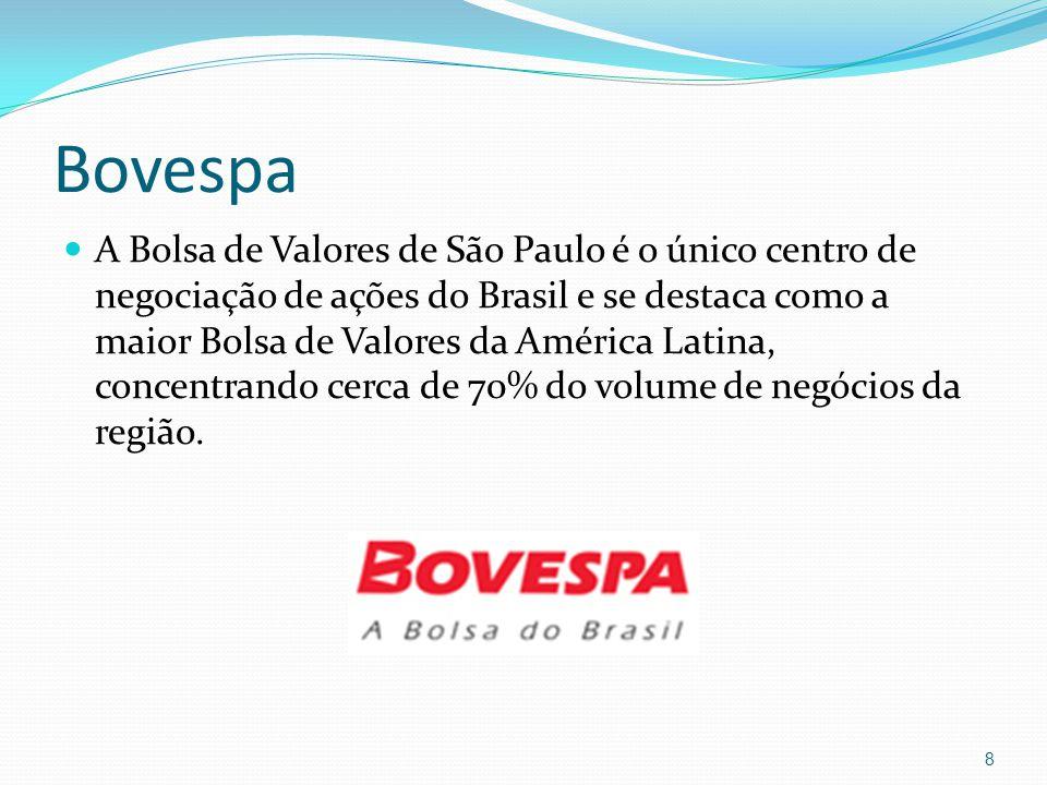 Bovespa A Bolsa de Valores de São Paulo é o único centro de negociação de ações do Brasil e se destaca como a maior Bolsa de Valores da América Latina