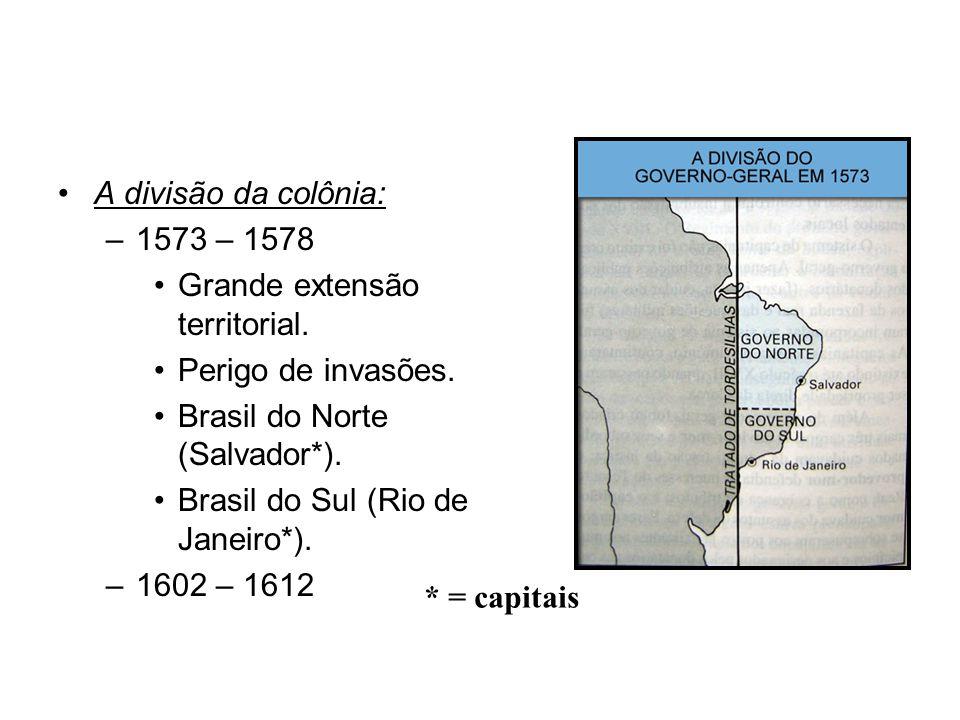 A divisão da colônia: –1573 – 1578 Grande extensão territorial.