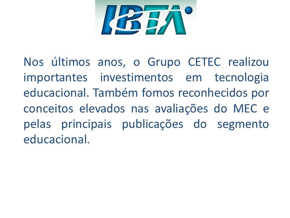 Benefícios para os alunos IBTA -Nos dois últimos anos o CETEC investiu R$ 7,5 milhões em tecnologia educacional, como: -conversão do portal do professor e aluno para ambiente SharePoint, -aquisição de equipamentos, -design instrucional para o desenvolvimento de material didático entre outros.