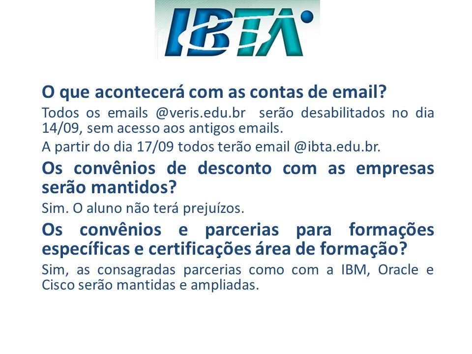 O que acontecerá com as contas de email? Todos os emails @veris.edu.br serão desabilitados no dia 14/09, sem acesso aos antigos emails. A partir do di