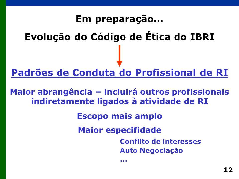 12 Evolução do Código de Ética do IBRI Padrões de Conduta do Profissional de RI Escopo mais amplo Maior abrangência – incluirá outros profissionais indiretamente ligados à atividade de RI Maior especifidade Em preparação...