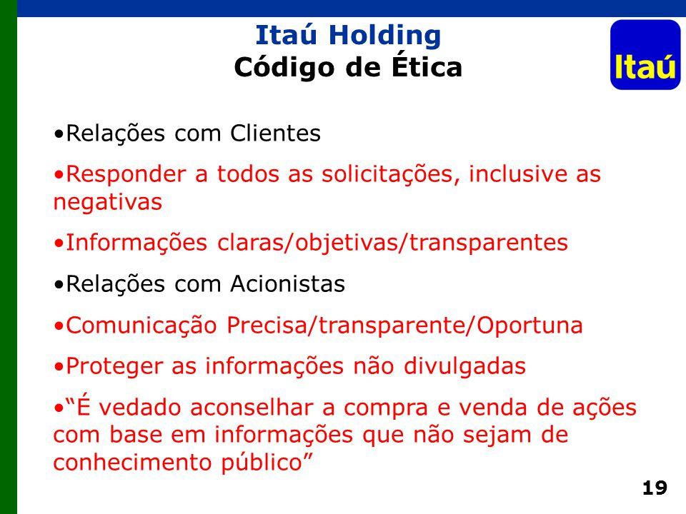 19 Relações com Clientes Responder a todos as solicitações, inclusive as negativas Informações claras/objetivas/transparentes Relações com Acionistas