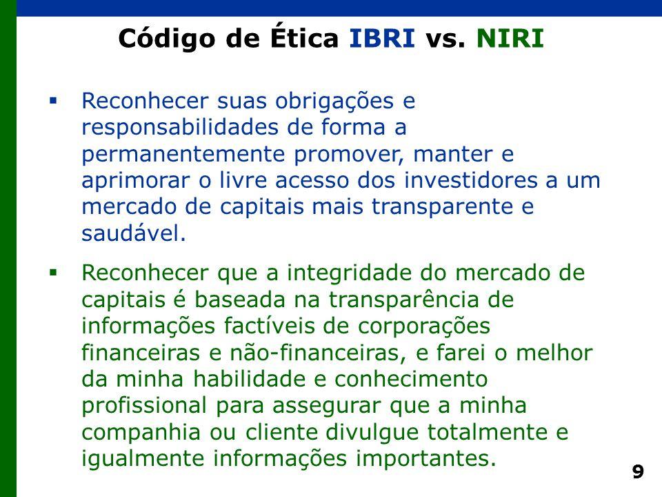 9 Código de Ética IBRI vs. NIRI  Reconhecer suas obrigações e responsabilidades de forma a permanentemente promover, manter e aprimorar o livre acess