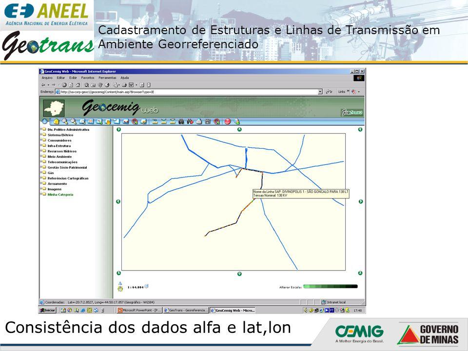 Cadastramento de Estruturas e Linhas de Transmissão em Ambiente Georreferenciado Consistência dos dados alfa e lat,lon