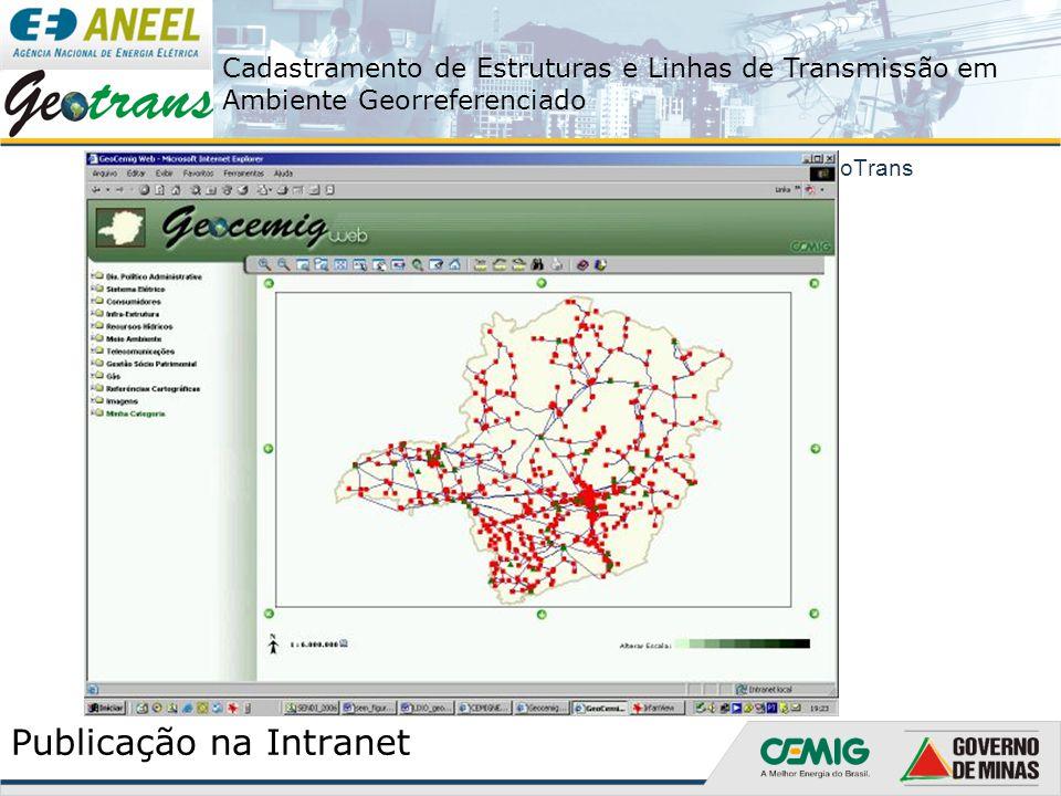 Cadastramento de Estruturas e Linhas de Transmissão em Ambiente Georreferenciado O Projeto GeoTrans Publicação na Intranet