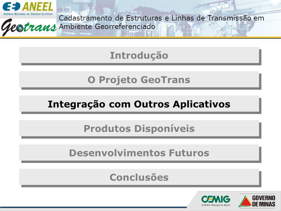 Cadastramento de Estruturas e Linhas de Transmissão em Ambiente Georreferenciado Introdução O Projeto GeoTrans Integração com Outros Aplicativos Produ
