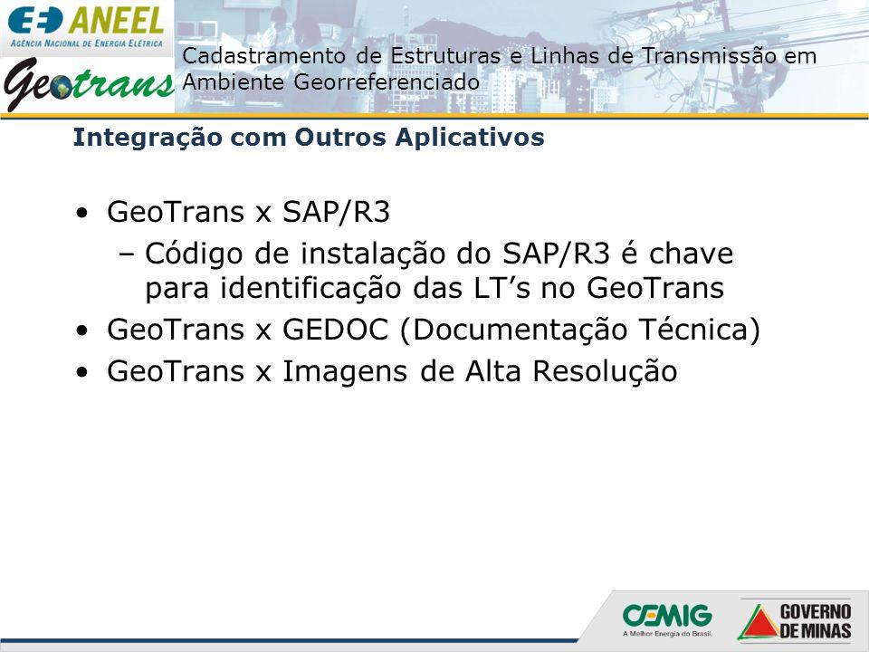 Cadastramento de Estruturas e Linhas de Transmissão em Ambiente Georreferenciado Integração com Outros Aplicativos GeoTrans x SAP/R3 –Código de instal