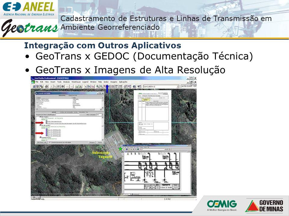 Cadastramento de Estruturas e Linhas de Transmissão em Ambiente Georreferenciado Integração com Outros Aplicativos GeoTrans x GEDOC (Documentação Técn